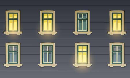 facade building: Retro Building Facade At Night
