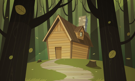 cabin: Cabin in woods Illustration