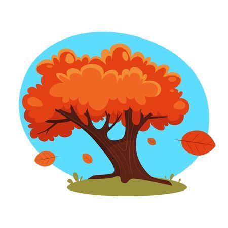 autumn tree: Cartoon Autumn Tree