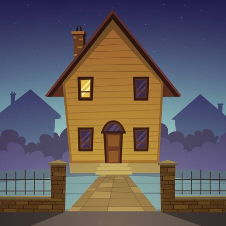 family in front of house: Front view of the cartoon family house. At the night time.