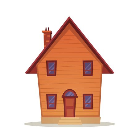 front house: Front view of the cartoon family house. Illustration