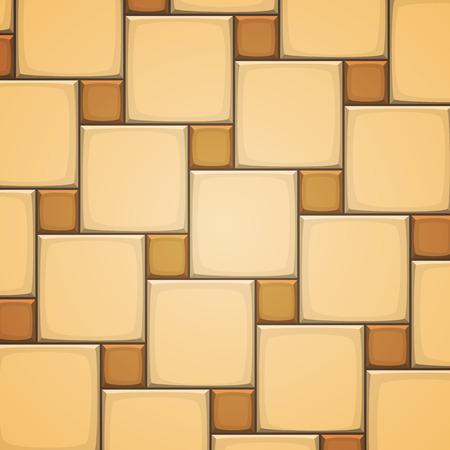 ceramica: Ilustración del vector de azulejos de cerámica de mosaico de color beige cuadrados horizontales.