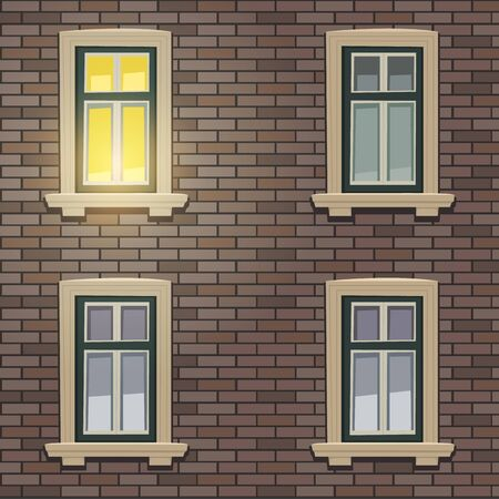 night time: Retro Building Facade At Night Time Illustration