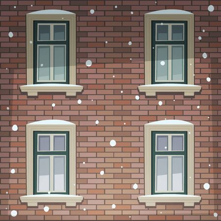 cartoon window: Retro Building Facade At Winter Time