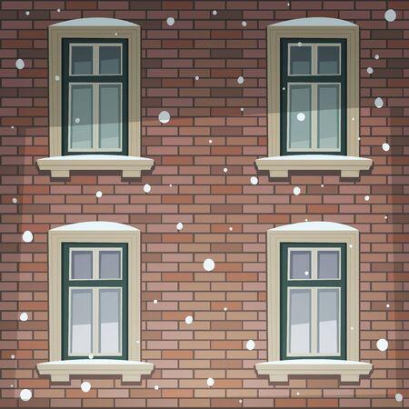 house facades: Retro Building Facade At Winter Time