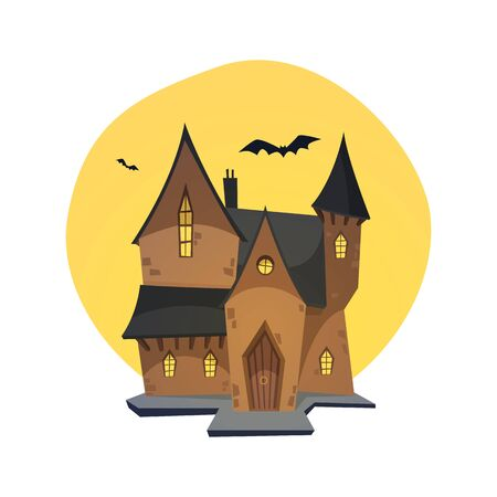 fearful: Cartoon illustration of haunted house with moon in background.