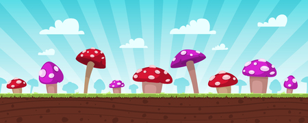 cartoon land: Mushrooms Game Background
