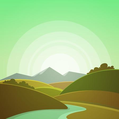 sun sky: Mountain Landscape Illustration