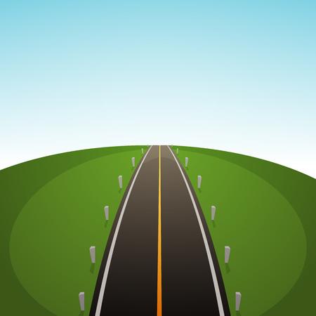 tar: Cartoon illustration of the road over field. Illustration