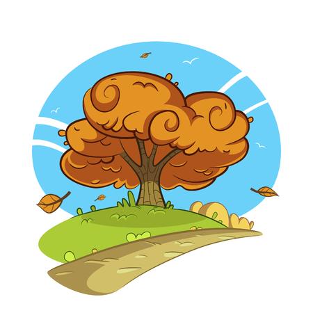 Cartoon illustration de l'arbre par la route. Paysage d'automne.