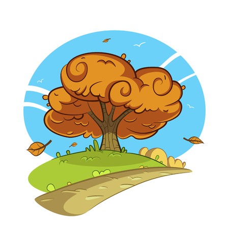 autumn landscape: Cartoon illustration of the tree by the road. Autumn landscape.