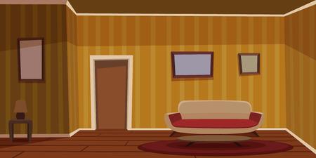 Retro Living Room - Yellow Illustration