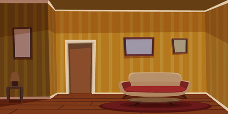 Retro Living Room - Yellow Illustration