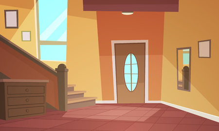 Cartoon illustration of retro style house hallway. Vectores