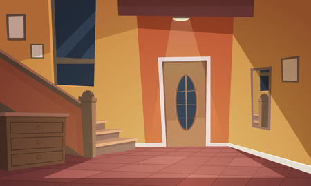 Cartoon illustration of retro style house hallway. Stock Illustratie