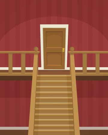 wooden door: The red room with doors and stairs.
