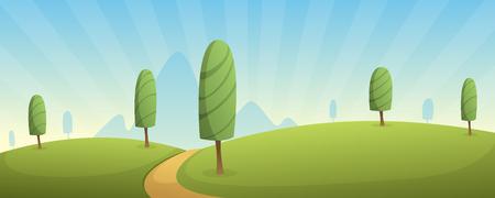 rural road: Cartoon Landscape