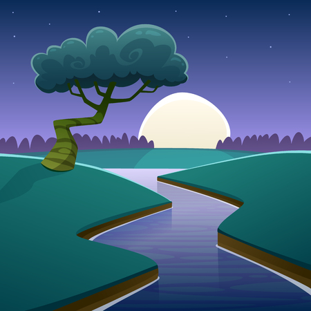 Cartoon illustration of night rural landscape with river over land. Stock Illustratie