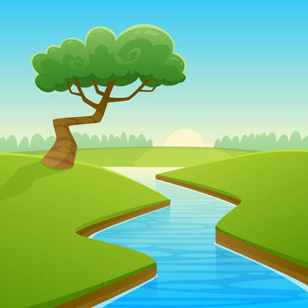 cartoon land: Cartoon illustration of summer rural landscape with river over land and tree.