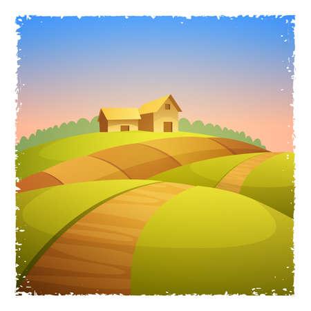 cultivated land: Rural landscape with farm barn, cartoon vector illustration. Grunge Frame.