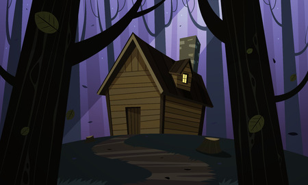 lodge: Cartoon illustration of the night forest landscape with wooden cabin.