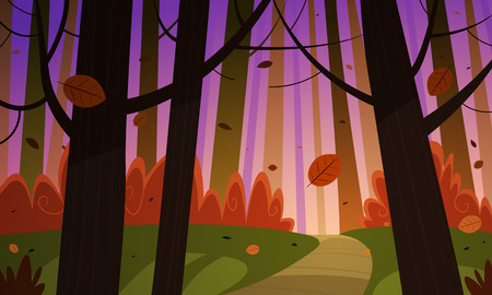 Cartoon illustration of the autumn forest with trail. Stock Illustratie