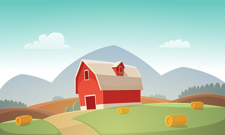 hay bales: Mountain countryside landscape with red farm barn, cartoon illustration. Illustration