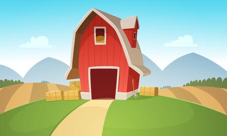 cartoon summer: Farm Landscape Illustration