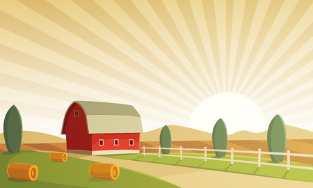 hay bales: Red farm barn at sunset, countryside landscape, cartoon illustration.