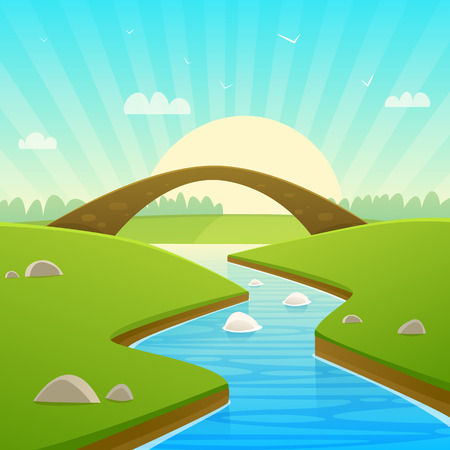 Cartoon illustration of countryside landscape with stone bridge.