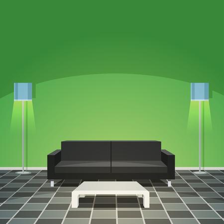 modern living room: Modern Living Room - Green Illustration