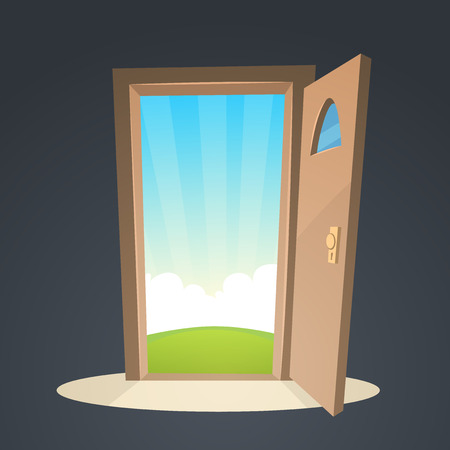 enter: Cartoon illustration of the open door and a view on a field. Illustration