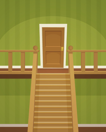 wooden stairs: The green room with doors and stairs.