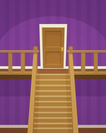 wooden stairs: The purple room with doors and stairs. Illustration