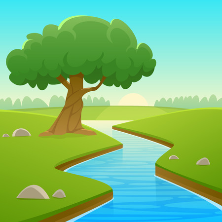 Cartoon illustration of summer rural landscape with river over land and tree.