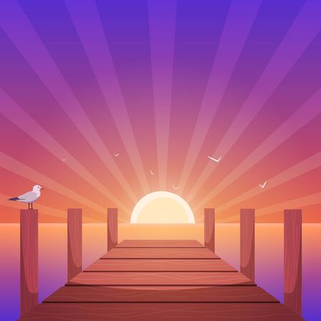 harbor: Cartoon illustration of the wooden pier with seagull at sunset time.