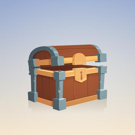 empty keyhole: Empty Wooden Chest Illustration