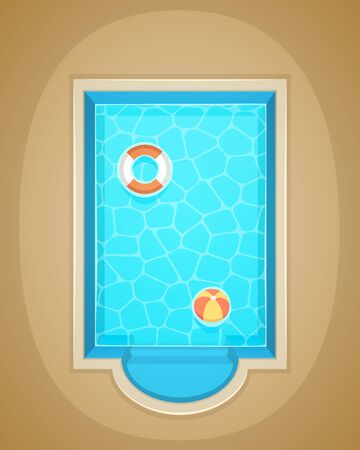 lifebelt: Vector illustration of swimming pool with lifebelt and ball.