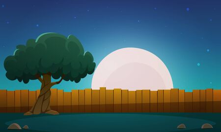 night time: Wooden Fence With Tree At Night Time Illustration