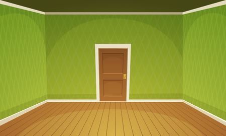 wooden doors: Empty Room  Green Illustration