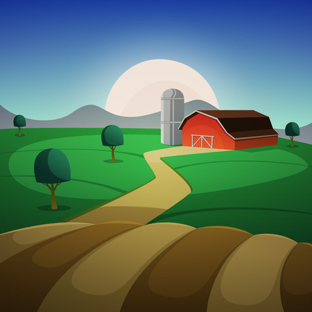 silos: Red farm barn, night countryside landscape, cartoon vector illustration. Illustration