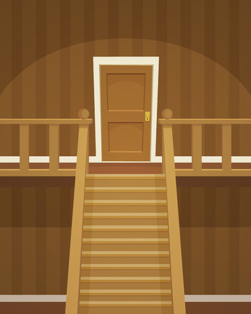 floor coverings: The brown room with doors and stairs.