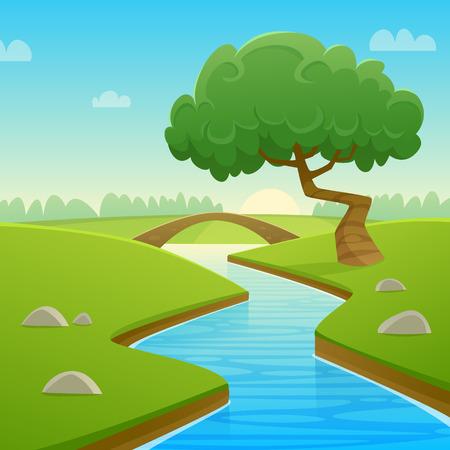 river rock: Summer Cartoon Landscape Illustration