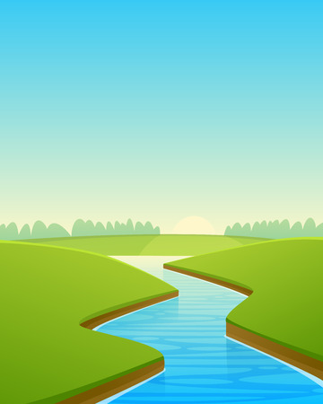 water stream: Cartoon River Landscape