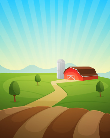 fertile: Red farm barn, countryside landscape, cartoon vector illustration.
