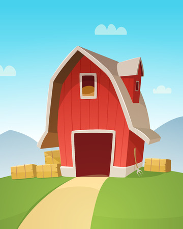 fertile: Mountain countryside landscape with red farm barn, cartoon vector illustration.