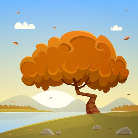 countryside landscape: Autumn Countryside Cartoon Landscape