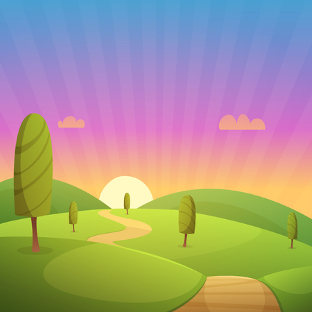 country road: Green hills with trees and country road, cartoon vector illustration.