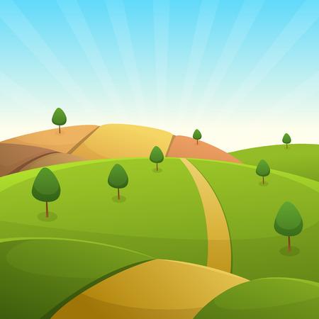 countryside landscape: Countryside Cartoon Landscape