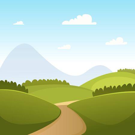 Paisaje de dibujos animados de Verano